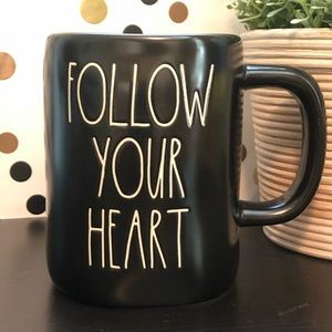 💥2/$30💥Rae Dunn FOLLOW YOUR HEART black mug